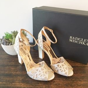 Badgley Mishka Ivory Hart Heeled Sandals - 7
